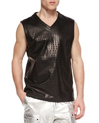Daniel Won Perforated Cross Leather Sleeveless Tank Black