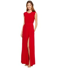Norma Kamali Sleeveless Elephant Dress With Skinny Belt Red Women's Dress