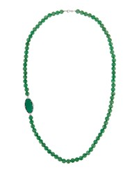 Judith Ripka Oval Slice Beaded Statement Necklace Green