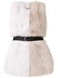 Blancha Belted Colour Block Fur Vest White