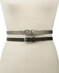 Inc International Concepts 2 For 1 Embossed And Solid Belts Created For Macy's Pewter