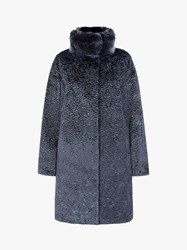 Four Seasons Astrakhan Faux Fur Coat Blue