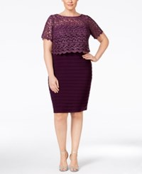 Betsy And Adam Plus Size Lace Pleated Sheath Dress Plum