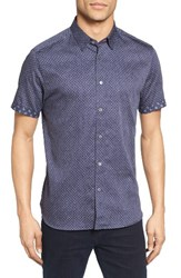 Ted Baker Men's London Indee Extra Trim Fit Geo Print Sport Shirt