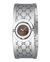 Gucci Boxed Stainless Steel Twirl Flip Bangle Watch Silver