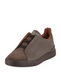 Ermenegildo Zegna Triple Stitch Low Top Sneakers Brown