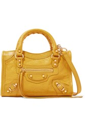 Balenciaga Classic City Nano Textured Leather Shoulder Bag Yellow
