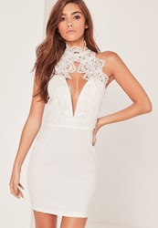 Missguided White Lace High Neck Deep V Mini Dress
