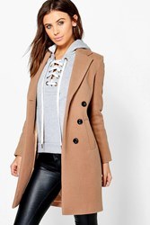 Boohoo Fatih Double Breasted Camel Duster Coat Camel