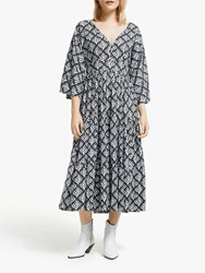 And Or La Galeria Elefante Kimono Feather Print Midi Dress Ivory Grey