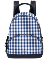 Nine West Taren Gingham Small Backpack Blue White Tobacco