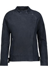 J Brand Goodall Leather Trimmed Suede Biker Jacket Midnight Blue