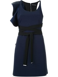 David Koma Double Front Zip Ruffle Dress Blue