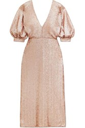 Costarellos Sequined Crepe Dress Gold