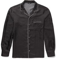 Dolce And Gabbana Polka Dot Silk Shirt Black