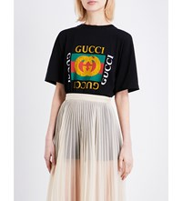 Gucci Embroidered Logo Cotton Jersey T Shirt Black Prt Multi
