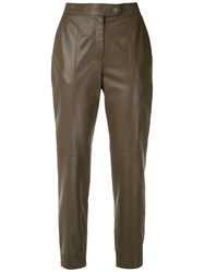 Egrey Leather Cropped Trousers Brown