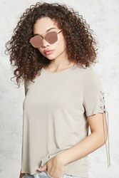 Forever 21 Lace Up Grommet Tee Beige