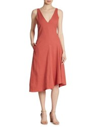 Theory Tadayon Asymmetrical Dress Carmine Red