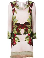 Antonio Marras Embellished Printed Shift Dress Pink And Purple