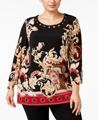 Jm Collection Plus Size Printed Grommet Tunic Only At Macy's Adorning Mix