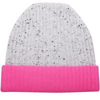 Orwell Austen Cashmere Speckled Grey And Pink Beanie Pink Purple