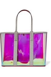 Christian Louboutin Cabata Spiked Pvc And Glittered Leather Tote Clear