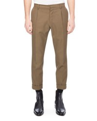 Berluti Twill Wool Trousers Military Green
