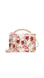 Mother Of Pearl Drew Stud Satchel Pink Chain Print