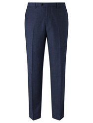 John Lewis Super 100S Wool Milled Birdseye Tailored Suit Trousers Blue