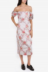 Brock Collection Ditsy Off Shoulder Dress Pink