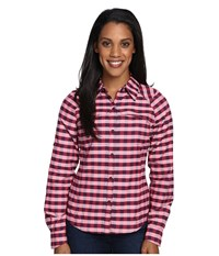 Columbia Silver Ridge Plaid L S Punch Pink Twill Women's Long Sleeve Button Up