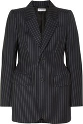 Balenciaga Hourglass Pinstriped Wool And Cashmere Blend Blazer Navy