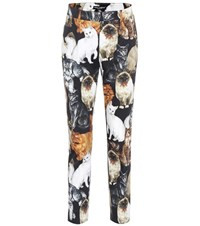 Dolce And Gabbana Printed Cropped Cotton Trousers Multicoloured