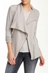 Heather By Bordeaux Asymmetrical Fleece Jacket Gray