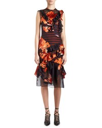 Givenchy Sleeveless Floral Print Chiffon Dress Multi