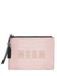 Msgm Crocodile Embossed Leather Pouch
