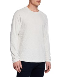 7 For All Mankind Long Sleeve Crinkled Crewneck T Shirt White