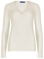 Winser London Merino Wool Rib V Neck Jumper Cream