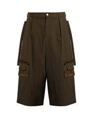 Damir Doma Pell Oversized Textured Cotton Blend Shorts Khaki