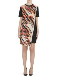 Carven Silk Blend Scarf Print Dress Noir Orange Rouge