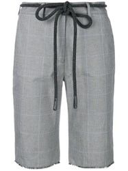Off White Checked Cycling Shorts Grey