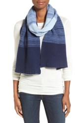 Halogen Degrade Stripe Cashmere Muffler Blue