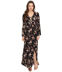 Brigitte Bailey Hedda Bell Sleeve Floral Maxi Dress Black Women's Dress