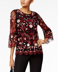 Alfani Petite Embroidered Mesh Bell Sleeve Top Created For Macy's Red Scroll Garden