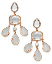 Charter Club Rose Gold Tone Crystal Stone Chandelier Earrings