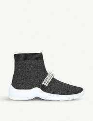 Kurt Geiger Linford Sock Stretch Knit High Top Trainers Metal Comb