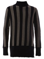 Ziggy Chen Striped High Neck Jumper Black