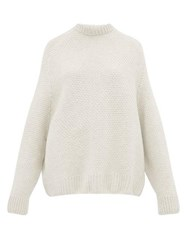 Raey Crew Neck Basket Weave Wool Sweater Ivory