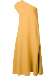 Tome Long One Shoulder Dress Yellow And Orange